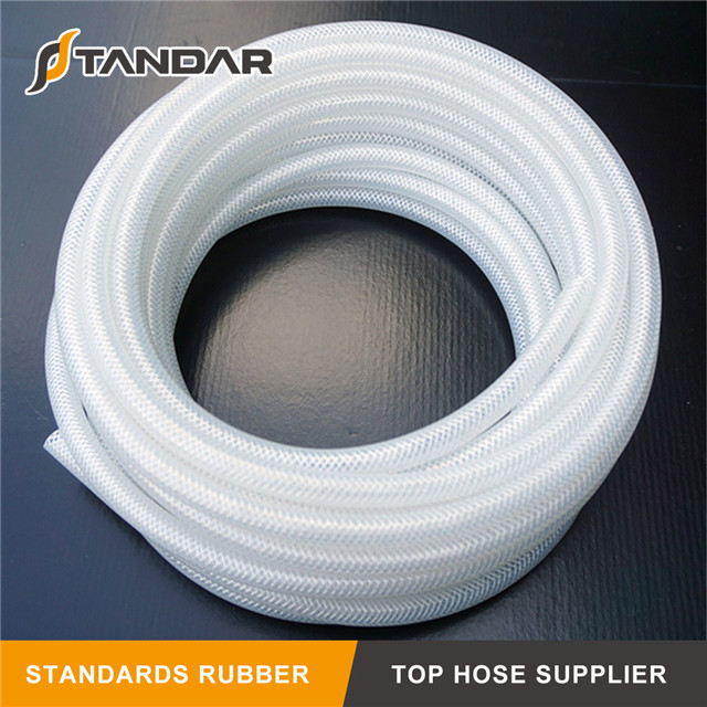 high Pressure Flexible Fabric Braided Reinforced clear soft platinum cured food grade silicone tubing