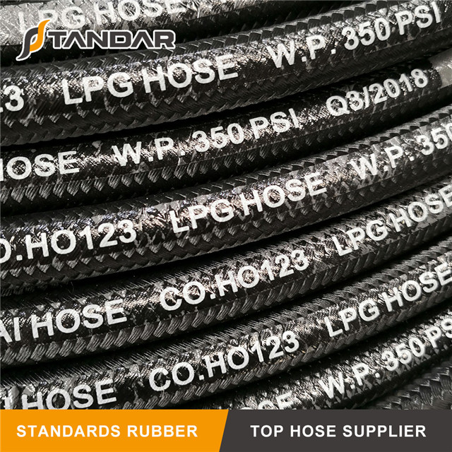 High Pressure flexible steel Wire Braided reinforced Hydraulic Rubber propane tank extension LPG gas Hose