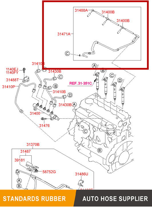 Diesel Fuel Injector Spill Rail return overflow pipe 314712A670 For HYUNDAI/KIA